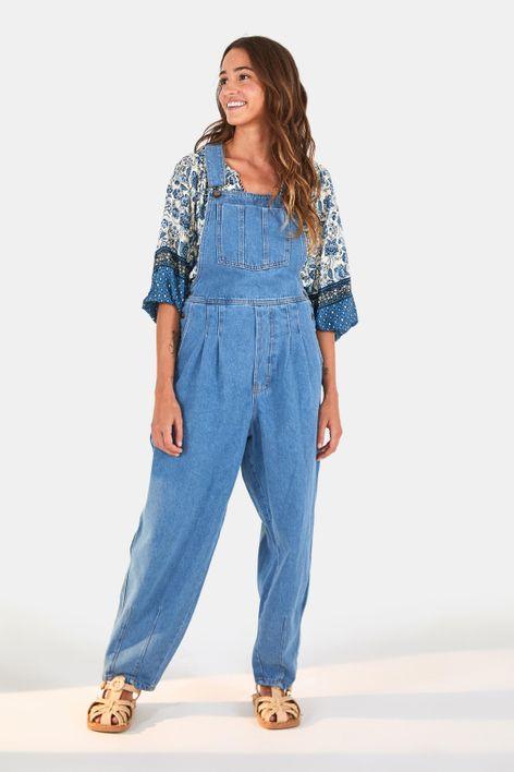 jardineira pregas refarm jeans