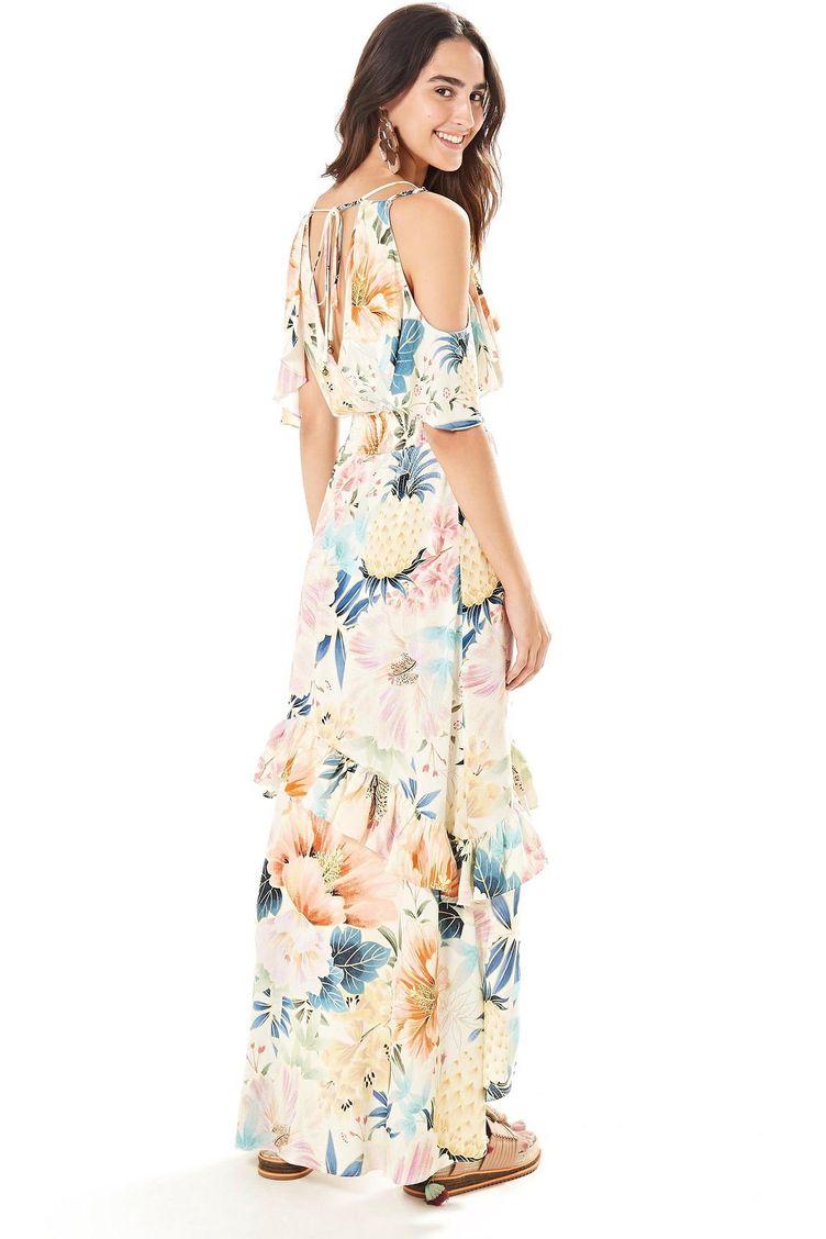 10a62c6d8dc Maxi Floral Frescor off W em Moda Feminina - Vestido G – Farm