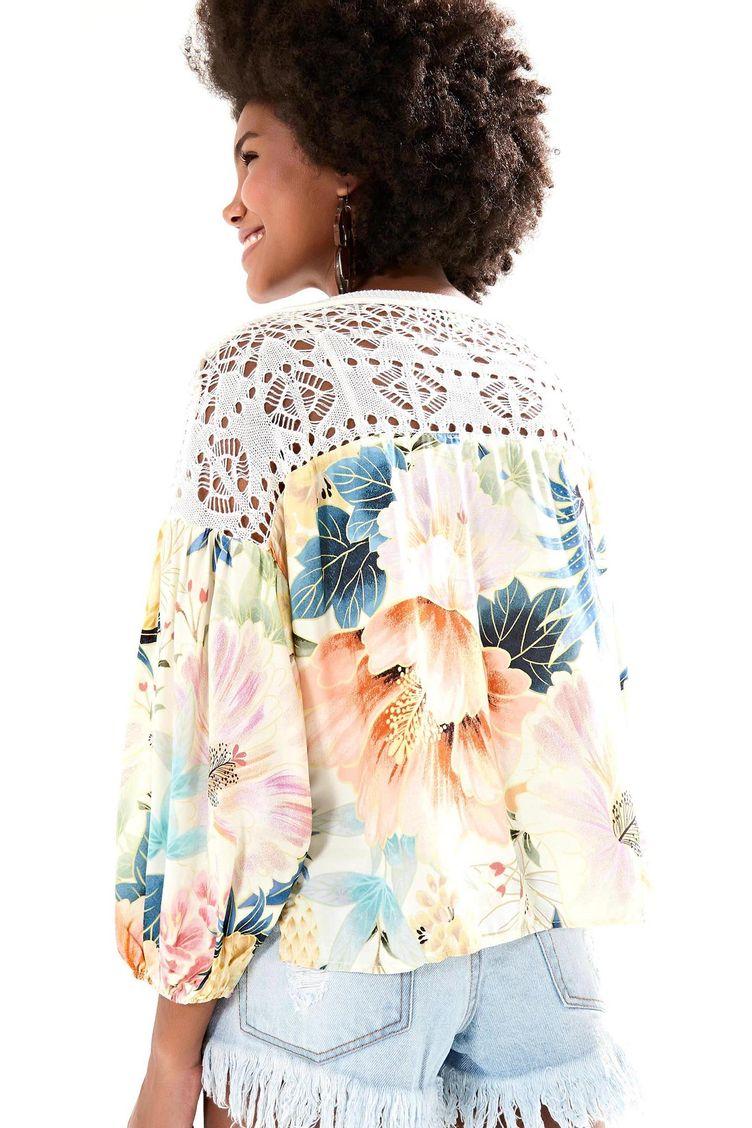 Blusa Tricot Maxi Floral Frescor - Farm 59cf5162bfc