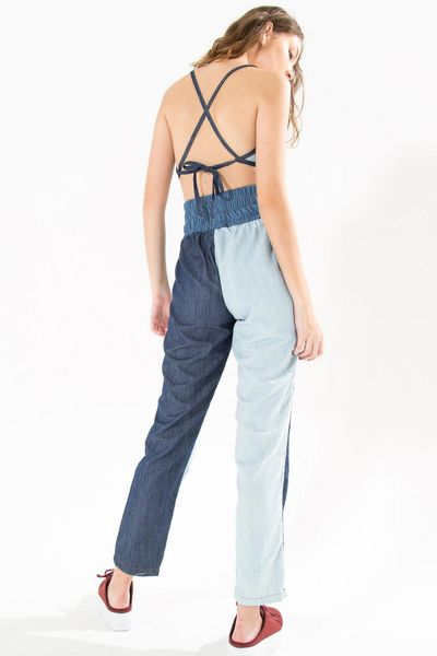 Calca Alta Mix Denim