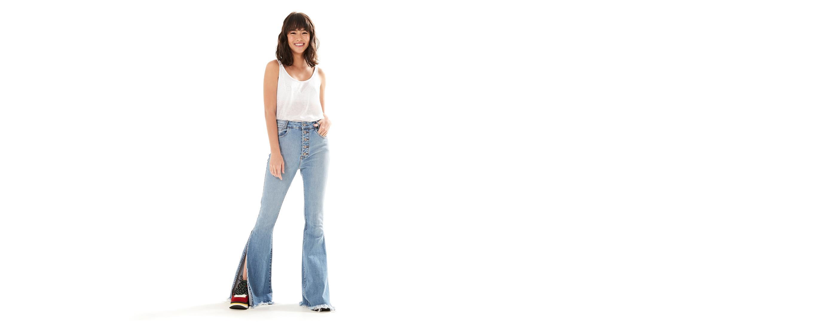 69ee531d2 Farm · Moda Feminina · Calça. Flare Jeans Maxi Fenda