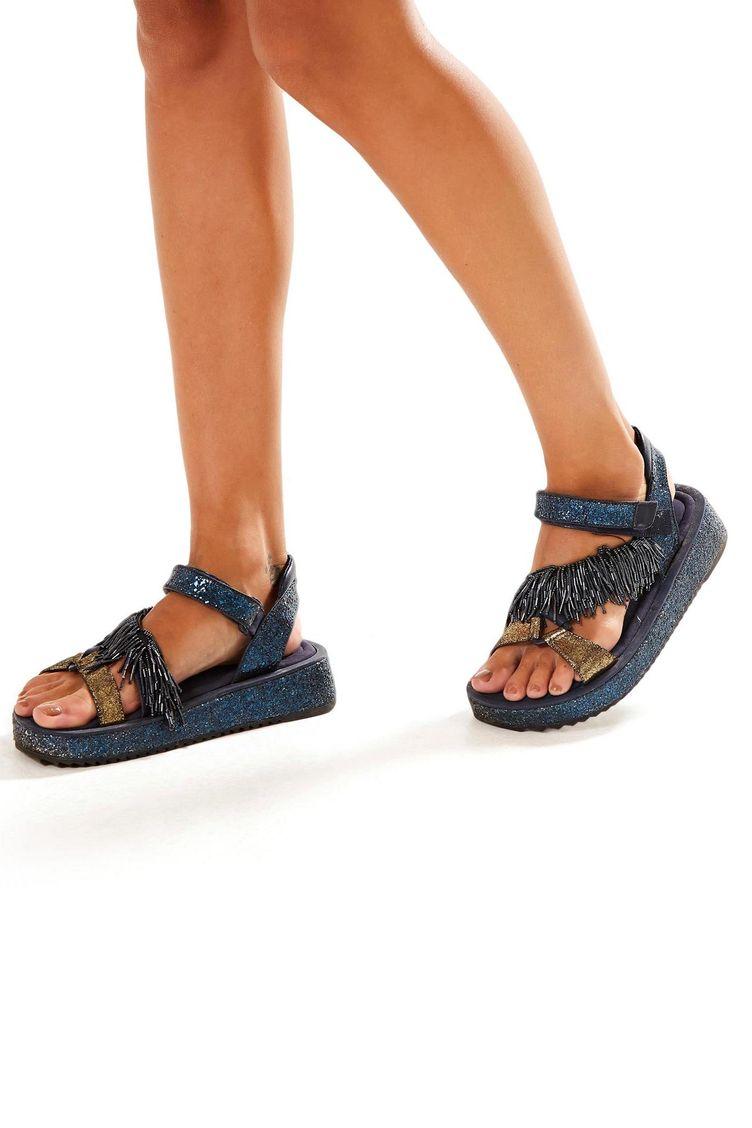 12ba8afd41 Sandalia Glitter Azul Azul Maui