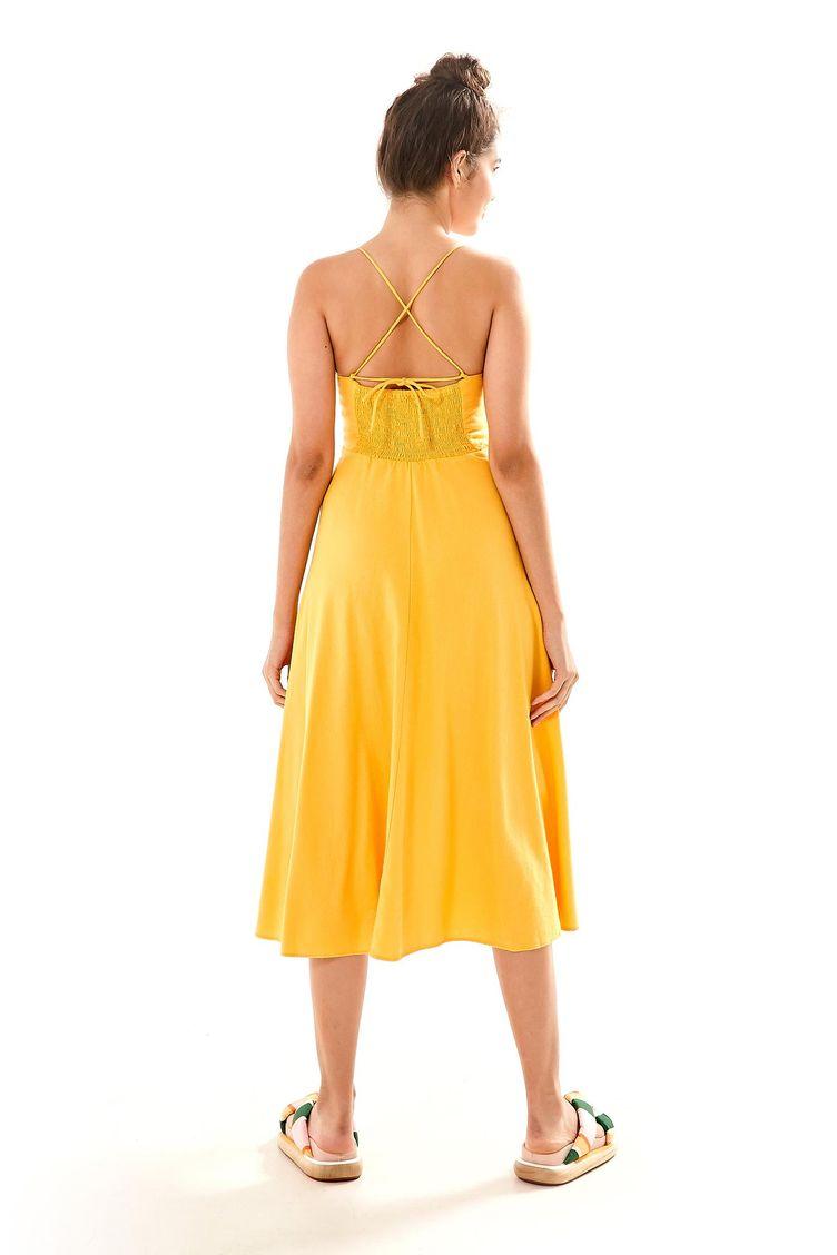 ef508c058a Vestido Busto Franzido Amarelo Canario