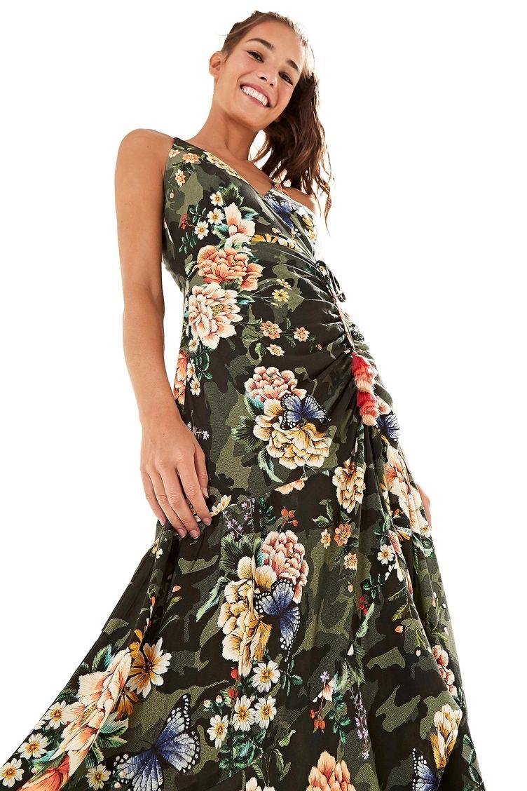 d7c7512f8 Vestido Drapeado Floral Camuflado - Farm