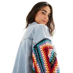 Jaqueta Jeans Manga Crochet - Farm - Farm Rio BR - Migrado 19/08/2020